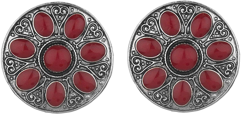 Efulgenz Boho Vintage Antique Ethnic Gypsy Tribal Indian Oxidized Silver Stone Round Big Stud Earring Set Jewelry