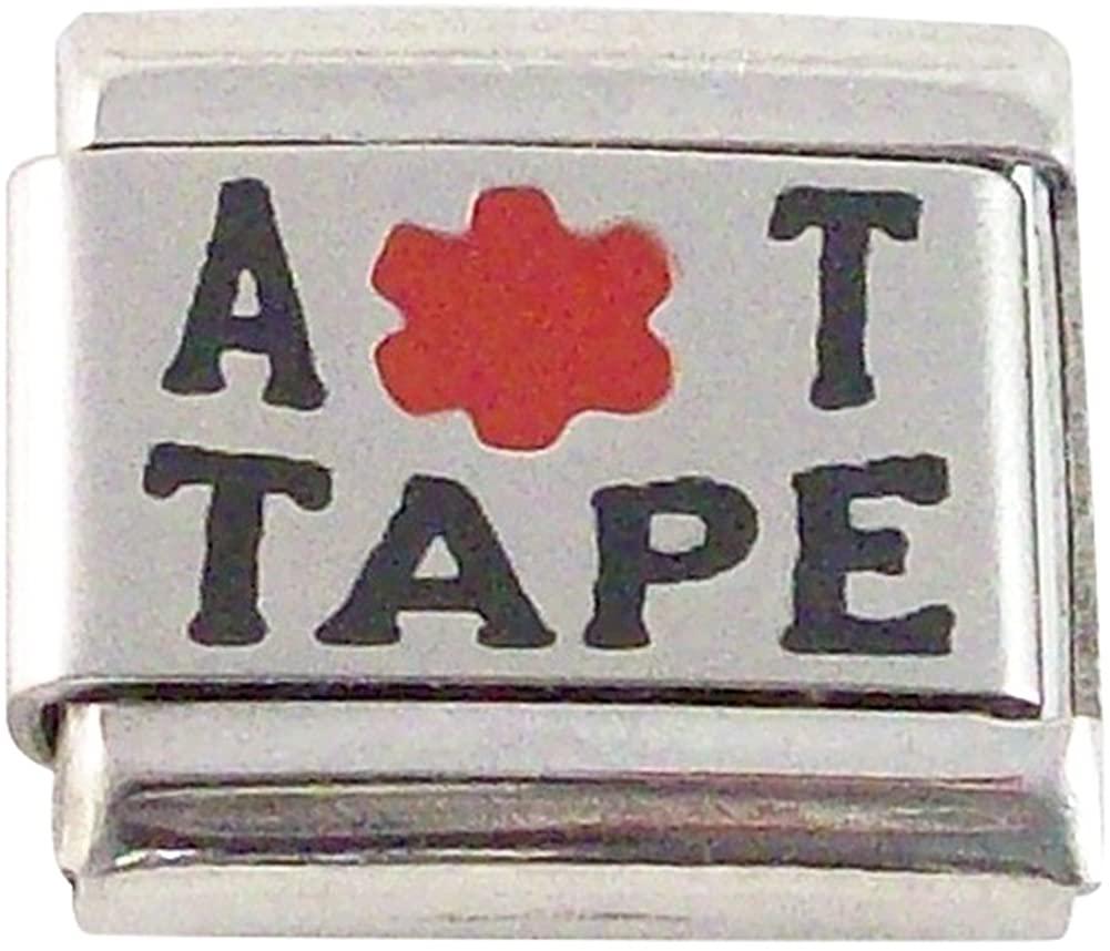 2 Pcs Allergic to Tape Medical Alert ID Italian Charms for Bracelet Men or Women Awareness Stainless Steel