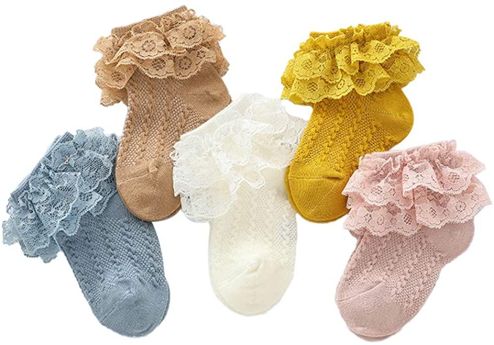 Baby Girl Socks Princess Lace Toddler Newborn Infant Kids Socks Colorful Turn Cuff Ruffles Ankle Socks 5 Pairs
