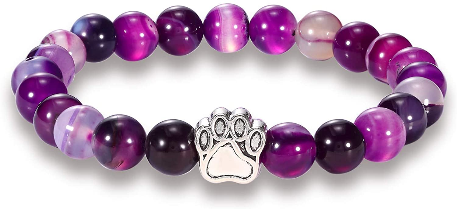 N-A 7 Colors 8 mm Colourful Natural Stone Beads Bracelets Dog Cat Footprint Paw Charms Bracelet Pet Lover Stretch Jewelry