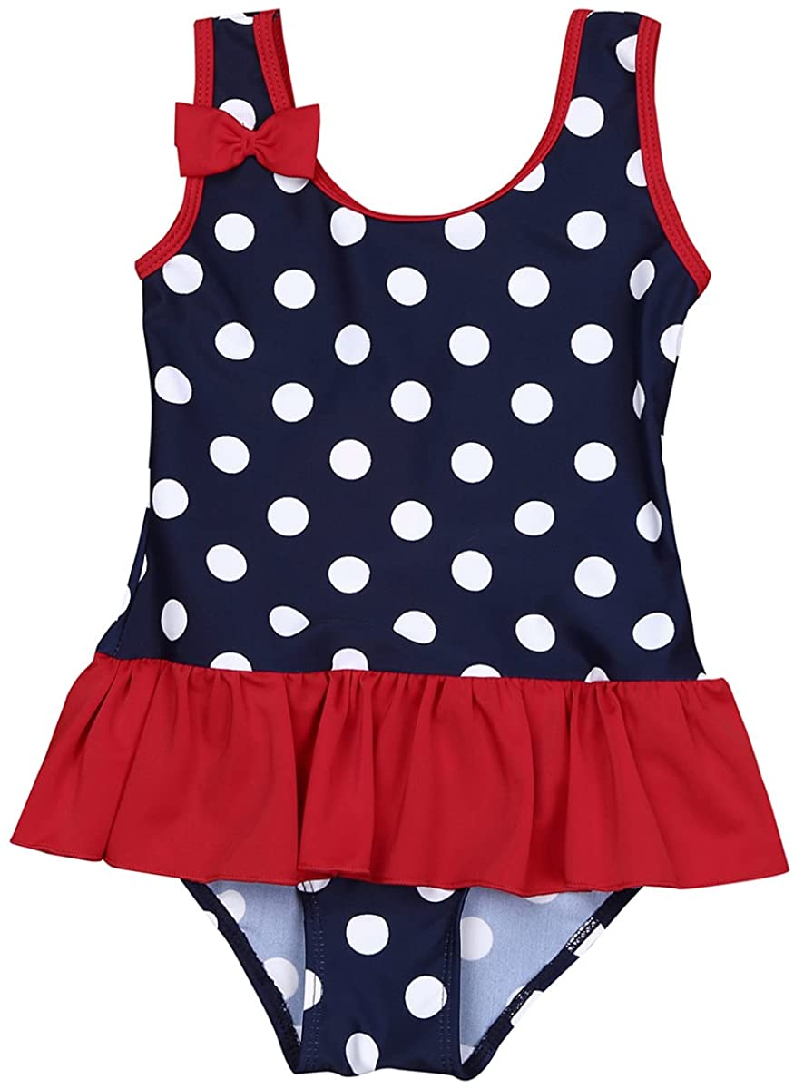 JEATHA Infant Baby Girls One Piece Sleeveless Ruffles Polka Dots Skirt Swimwear Beachside Swimming Surfing Bathing Suit