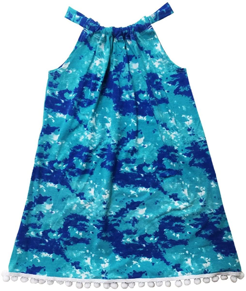 Esme Girl's Beachwear Halter Dress with Pom Pom