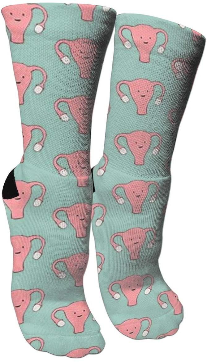 antspuent Uterus Pink Compression Socks Unisex Fun Novelty Crazy Dress Crew Socks