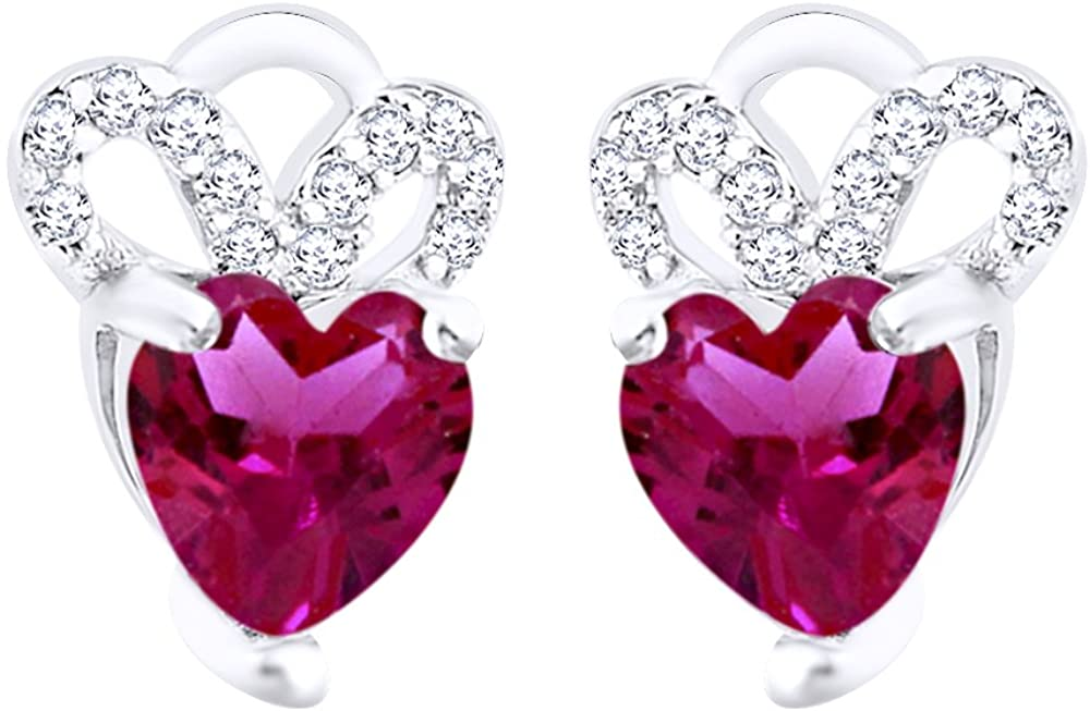 Round Cut Simulated Garnet Heart Mickey Stud Earrings In 14K Gold Over Sterling Silver
