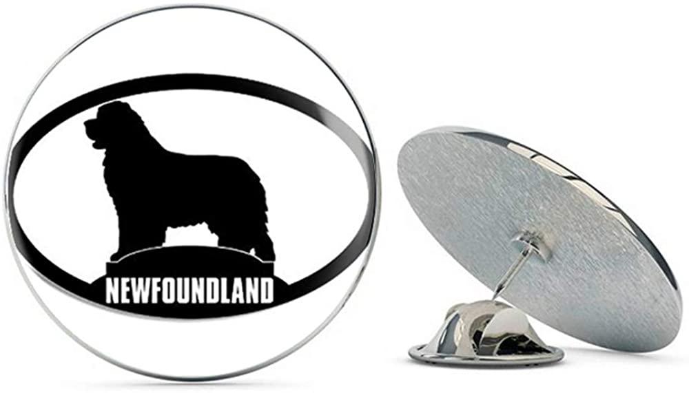 NYC Jewelers Oval Newfoundland Silhouette (Dog Breed) Metal 0.75