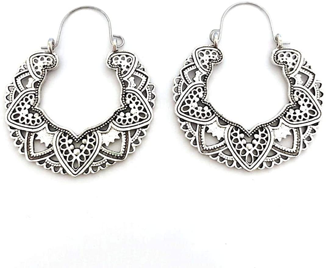GLOA Dangle Earrings for Women, Gypsy Tribal Hollow Out Mandala Flower Hoop Earrings Jewelry Gift - Antique Silver