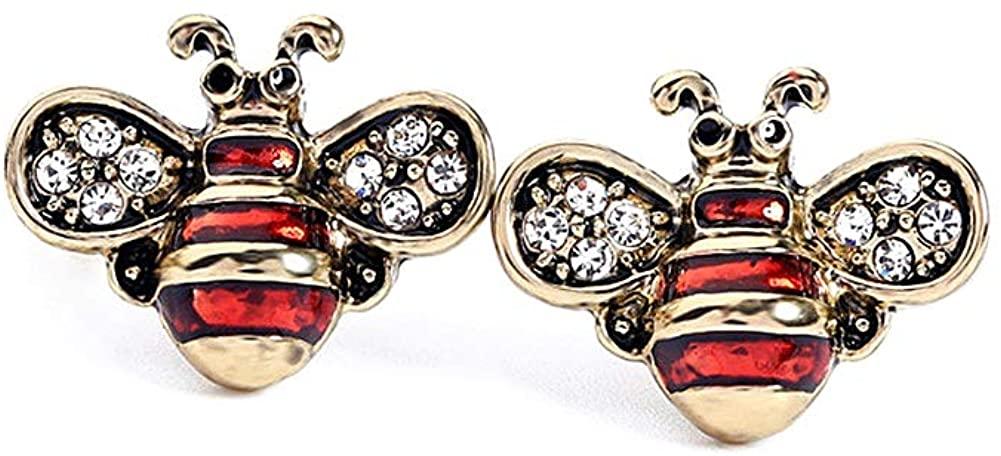 Ladies Exquisite Owl Bee Crystal Rhinestones Stud Earrings,Luxury Cute Animal Earrings