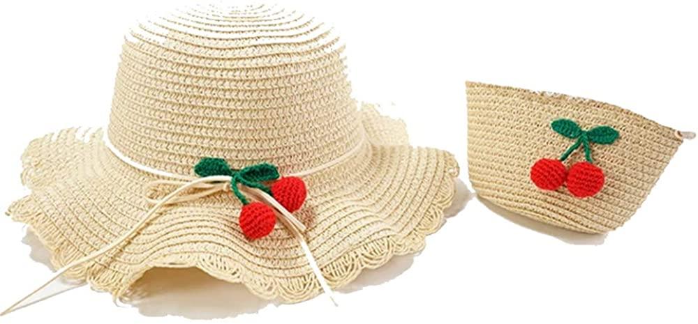 Adorabo Hats Mini Straw Hat & Purse Set for Kids, Cherry