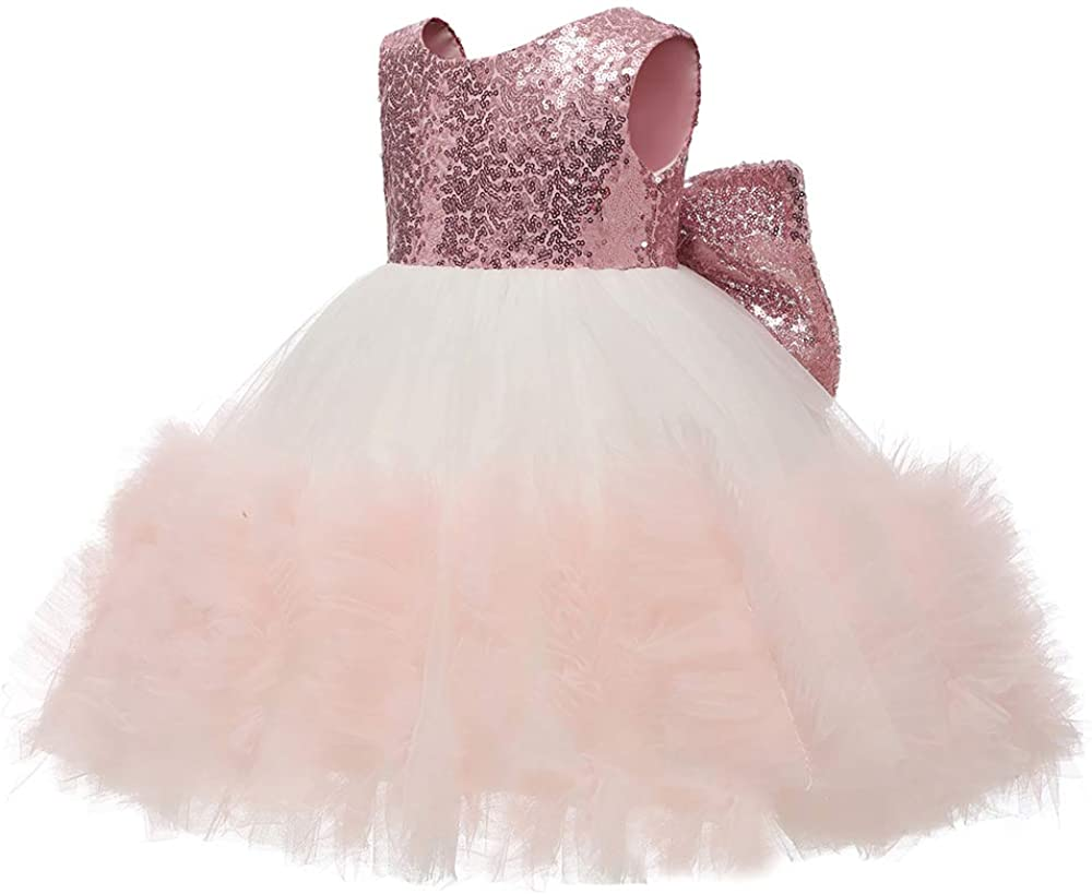 ABAO SISTER Baby Girls Sequined Flower Girl Dress Toddler Princess Tulle Tutu Pageant Ball Gowns