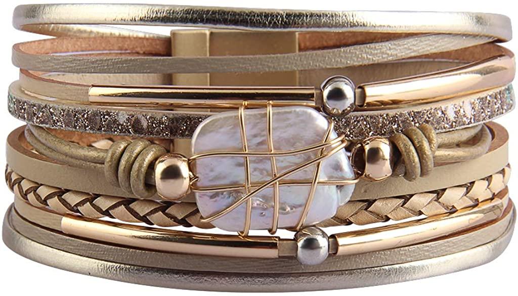COOLLA Women's Bracelet - Pearl Leather Jewelry Multilayer Wrap Bracelets Magnet Clasp