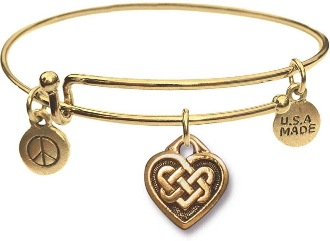 Goldtone Bangle Bracelet and Celtic Heart Charm
