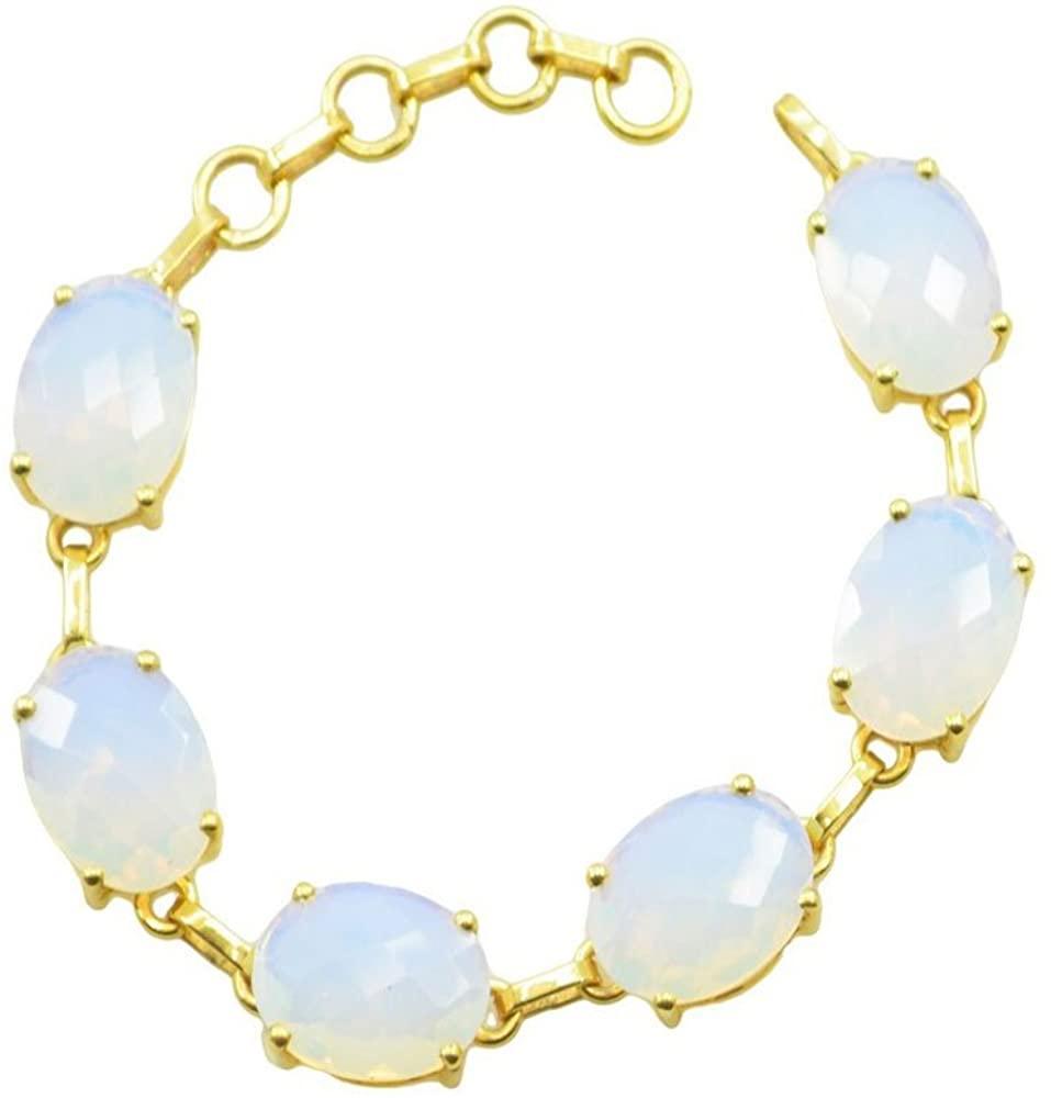 gemsonclick Fire Opal CZ Copper Gold Plated Multi Bracelet Gift for Women Men Girl L-7.5 FM1031