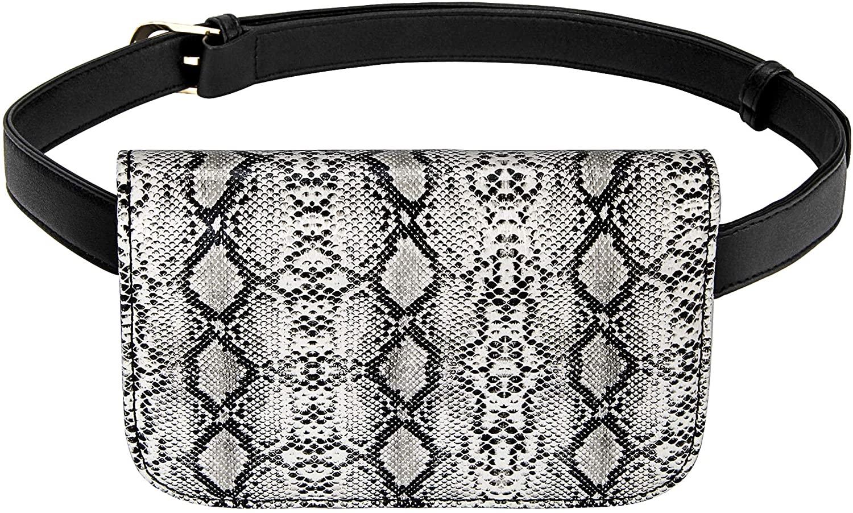 Badiya Women's Mini Waist Bag Fanny Packs Crocodile Leather Cell Phone Pocket (Python veins-white)
