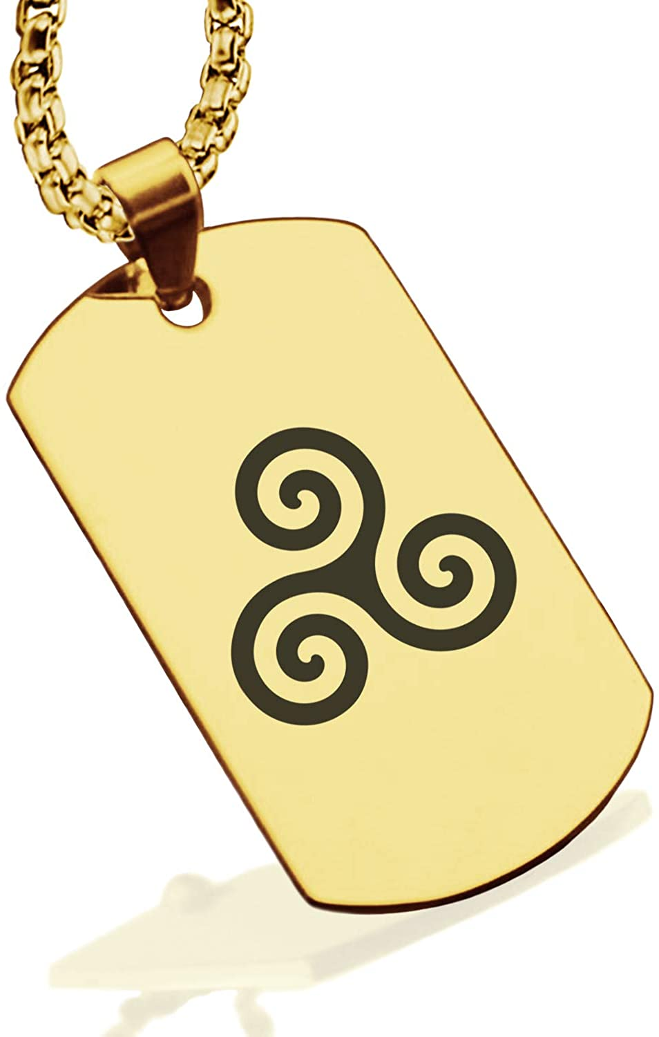 Comfort Zone Studios Stainless Steel Celtic Knot Dog Tag Pendant Necklace