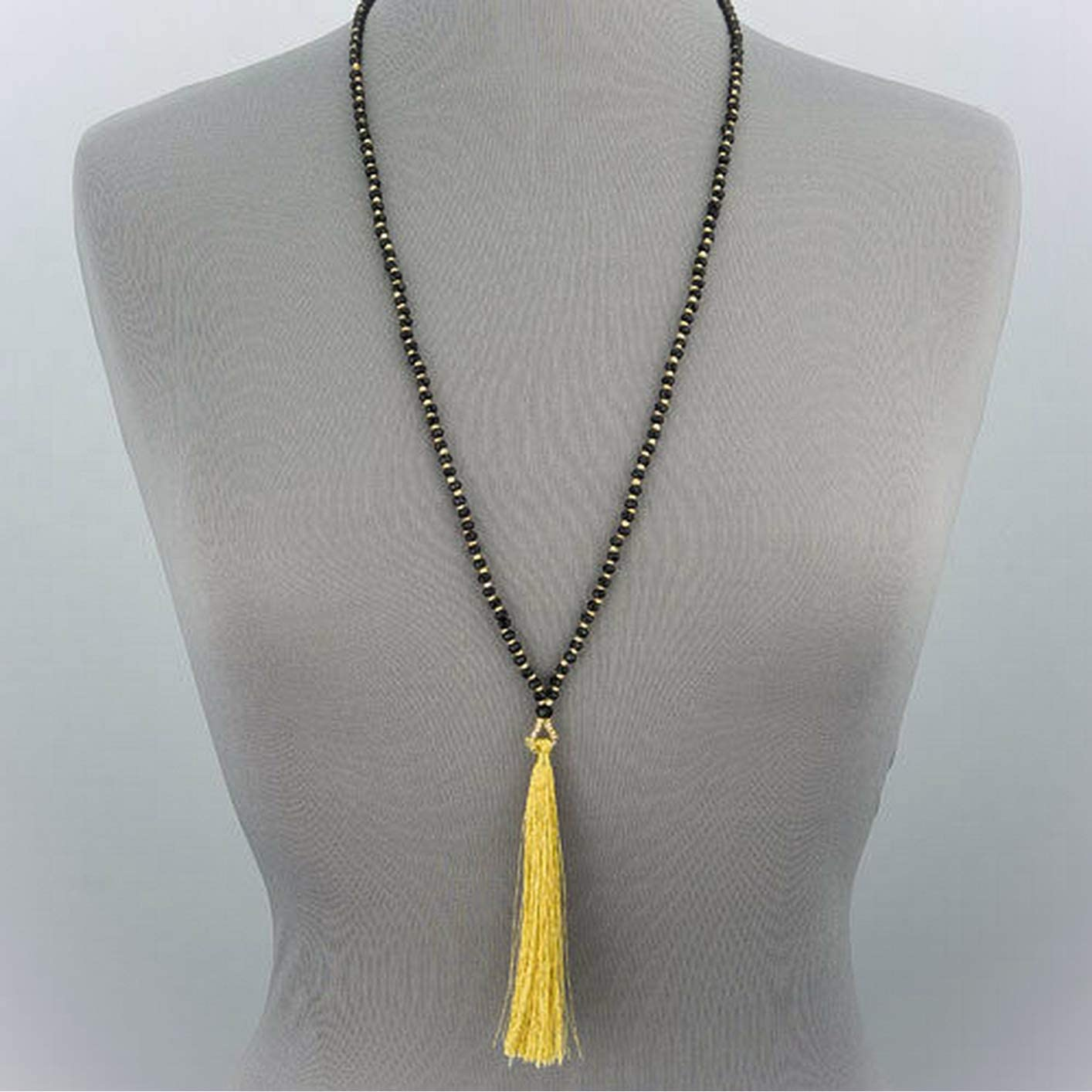 Black Faceted Stone Beads Gold Color Tassel Statement Necklace Amazing Accessories for Your Perfect and Fashion Look by CharmingSS
