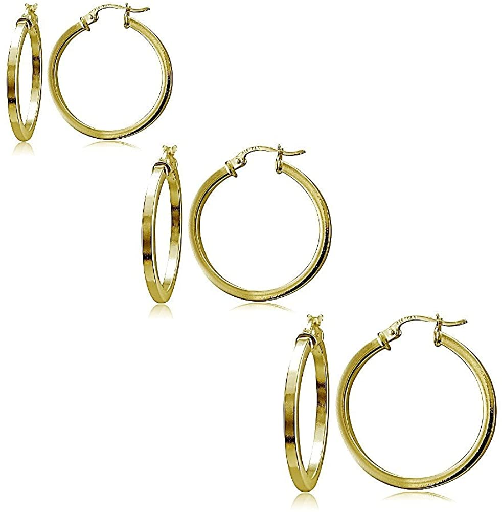 Hoops & Loops Set of 3 Sterling Silver 2mm Polished Square Hoop Earrings, 25mm, 30mm, 35mm