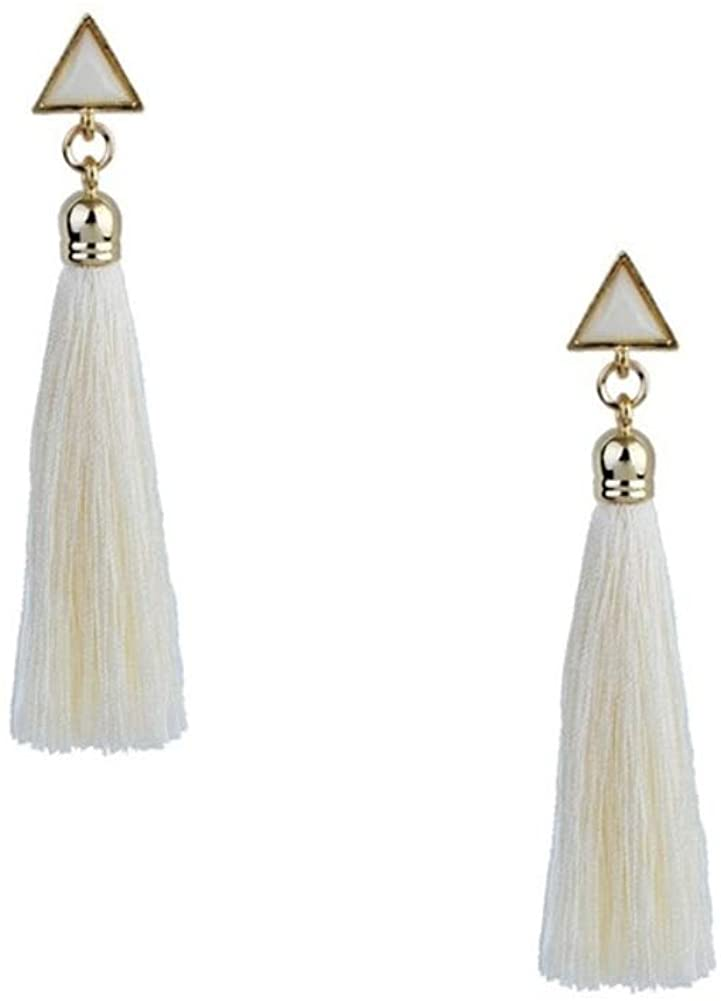 B Jewelry Collection Iso Geo Tassel Drop Earrings, White