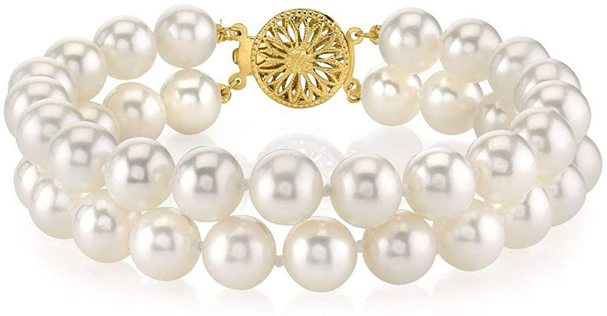 THE PEARL SOURCE 14K Gold 8-9mm AAA Quality Round White Double Freshwater Cultured Pearl Bracelet for Women