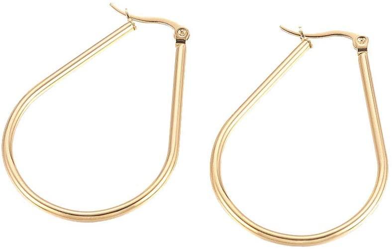 UNICRAFTALE 10 Pairs Stainless Steel Hoop Earrings Golden Earring Drop Pattern Earrings for Women Jewelry Earrings 48x33x2mm