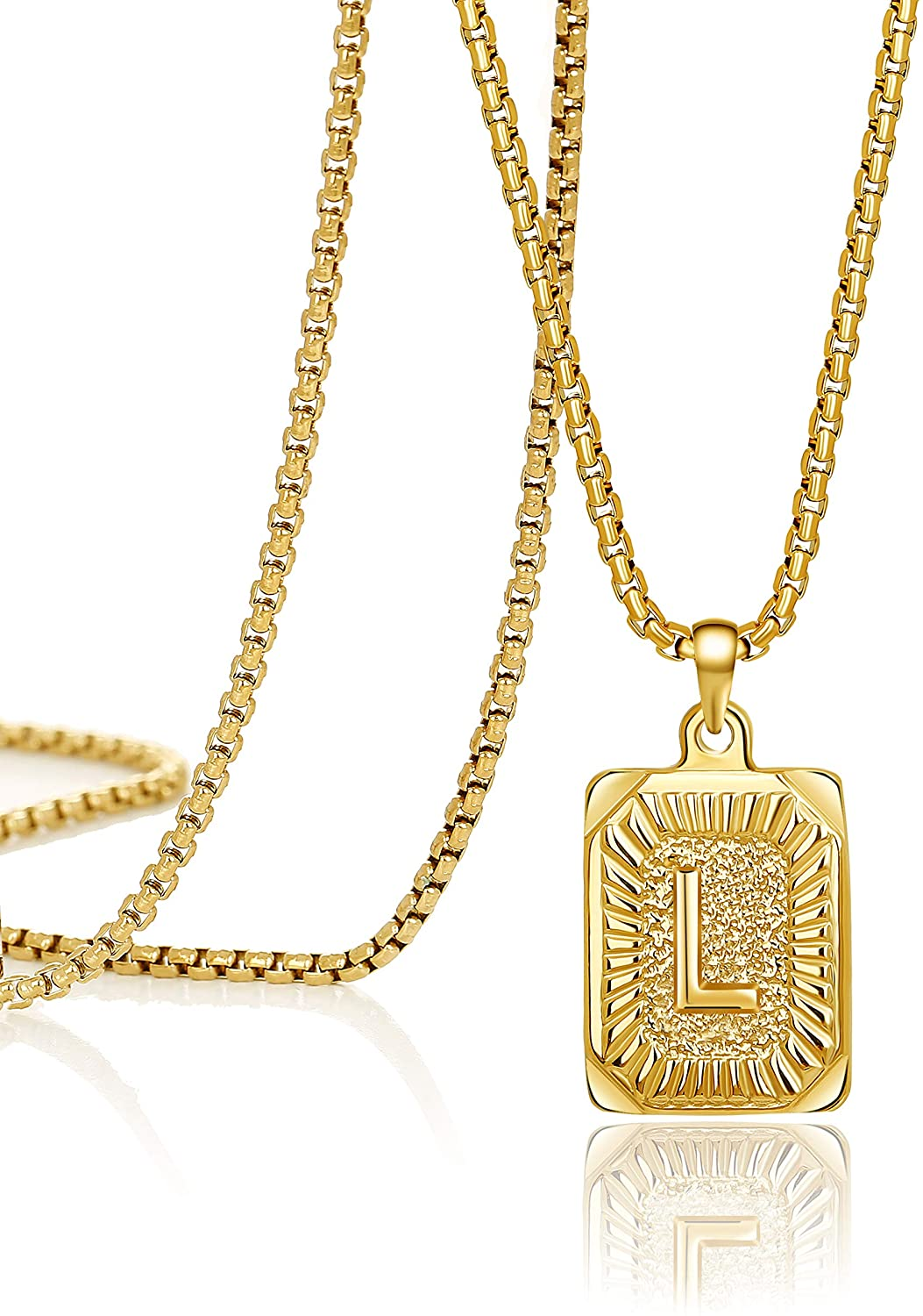 Joycuff Gold Initial Necklace for Women Pendant Necklaces 16 18 20 22 24 Inch Trendy Handmade Square Stainless Steel Jewelry