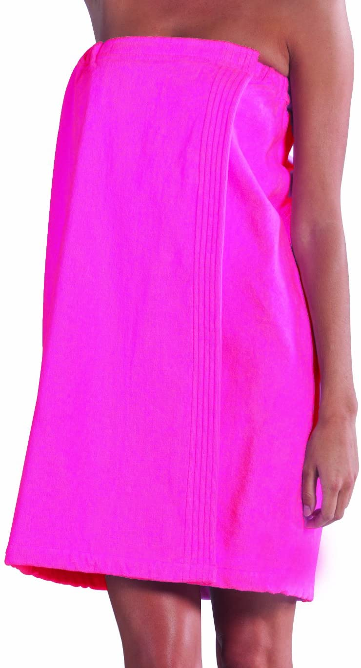 BY LORA Women's Wrap, Terry Cotton Ladies Cover-Up Towel, Hot Pink, S/M
