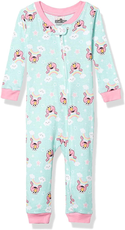 Sesame Street Girls' Cotton Non-Footed Pajama, Elmo Sweet Rainbows, 4T