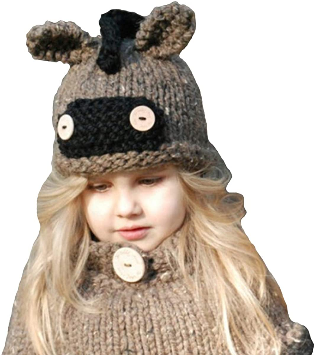 ba knife Kids Winter Knitted Hood Scarf Beanies Ear Warmers Cartoon Fox Rabbit Bear Cloak Woolen Cap Coat 2 Piece Sets