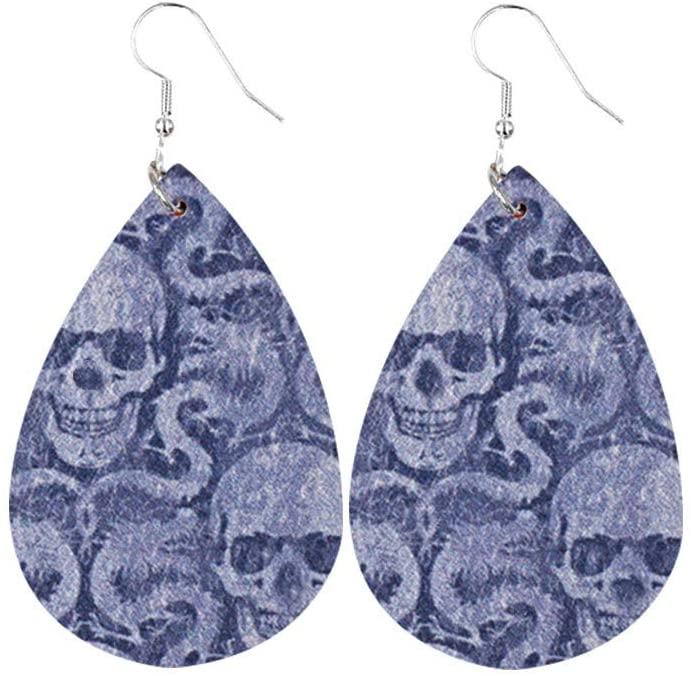 Simpleee - Halloween Earrings for Women Ladies Teardrop Faux Leather Dangle Earrings Lightweight Halloween Costume Party Decoration Supplies Accessory