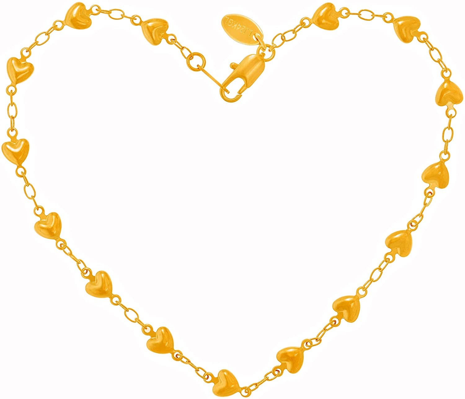 Lifetime Jewelry Solid Heart Link Anklet for Women & Girls 24k Real Gold Plated Bracelet