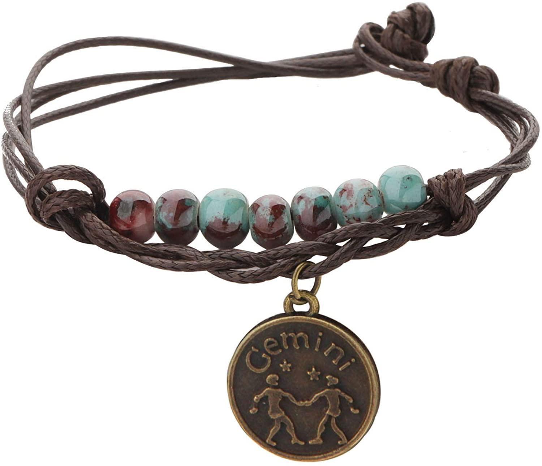 CHOORO Zodiac Sign Bracelet 12 Constellation Bracelet with Ceramic Beads Star Sign Jewelry Birthday Gift for Women Girls