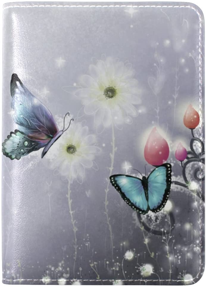 Butterfly Genuine Leather Passport Case Holder Cover Protector for Travel