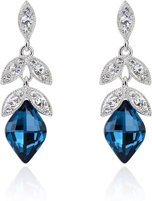 Womens 925 Sterling Silver Crystal Rhinestone Flower Bud Leaf Drop Dangle Stud Earrings Wedding Bridal Jewelry