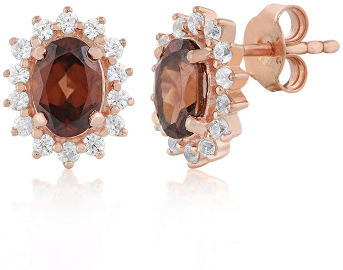 GEMSHINER Champagne Zircon Studs Earring Gold Plated 925 Sterling Silver Stud EarringsFor Women,Men Girls