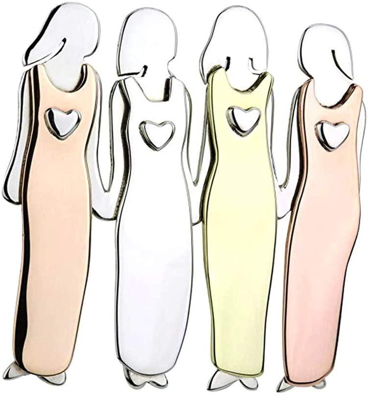Evangelia.YM Beautiful Sisters Brooch Pins 2-6 People Love Heart Color Block Fancy Sister Friendship Xmas Gifts Wild Personality Charm Ladies Jewelry Accessories (4 Sisters)
