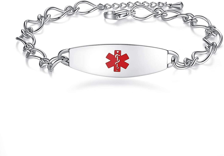 mnmoom Ladies' Elegant Medical ID Bracelet Fashion Stainless Steel Chain Alert Bracelets for Women with Free Engraving