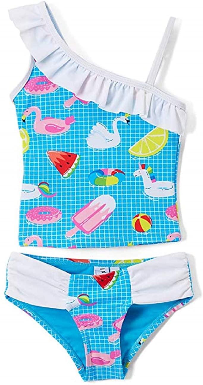 Girls Two Piece Tankini Swimsuit Tropical Ruffle Swimwear UPF 50+ Sun Protection Bathing Suit Set Blue (Blue Unicorn, 10/12)