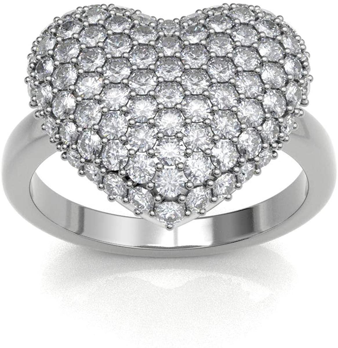JewelsForum 2 – 3 Carat Diamond 14k White Gold 1.00cts Cluster Diamond Heart Engagement Ring for Women Art Deco Bee Hive Design Wedding Anniversary Marriage Love Band