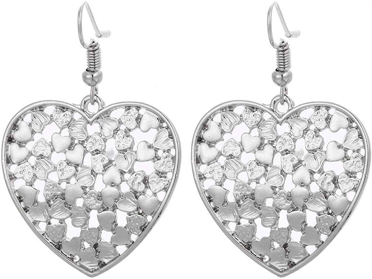Winssi Filigree Heart Dangle Earrings for Women Love Heart Drop Earrings