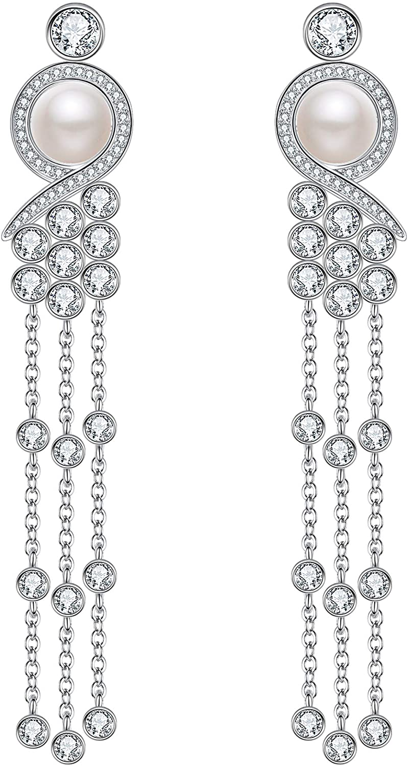 EleQueen 925 Sterling Silver CZ AAA Button Cream Freshwater Cultured Pearl Victorian Style Long Tassel Bridal Y-Necklaces Dangle Earrings Set