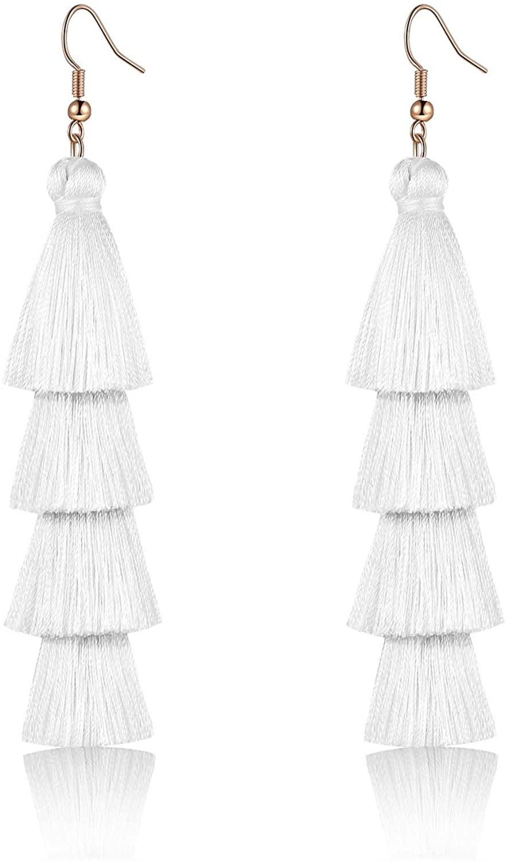 Colorful Layered Tassel Earrings Simple Bohemian Tier Big Dangle Drop Earrings for Women girls