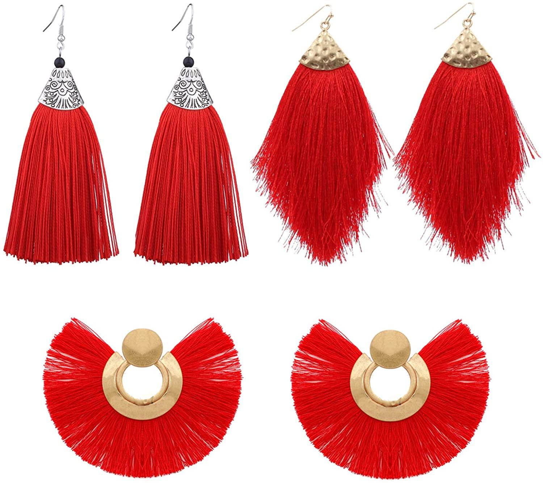 YANCHUN 3 Pairs Feather Fan Tassel Statement Dangle Earrings for Women Bohemian Silky Thread Fringe Drop Earrings for Girls