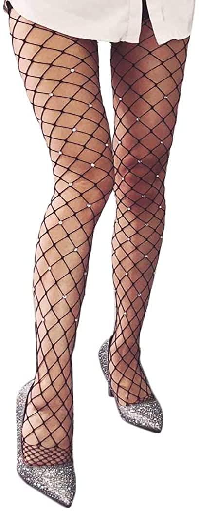 Masiter Sparkling Rhinestone Fishnet Stockings Bling Crystal Tights Black Waist Stocking Masquerade Party Nightclub Clubwear for Women and Girls