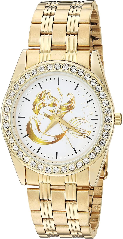 DISNEY Women's Princess Ariel Analog-Quartz Watch with Stainless-Steel Strap, Gold, 12 (Model: WDS000168)