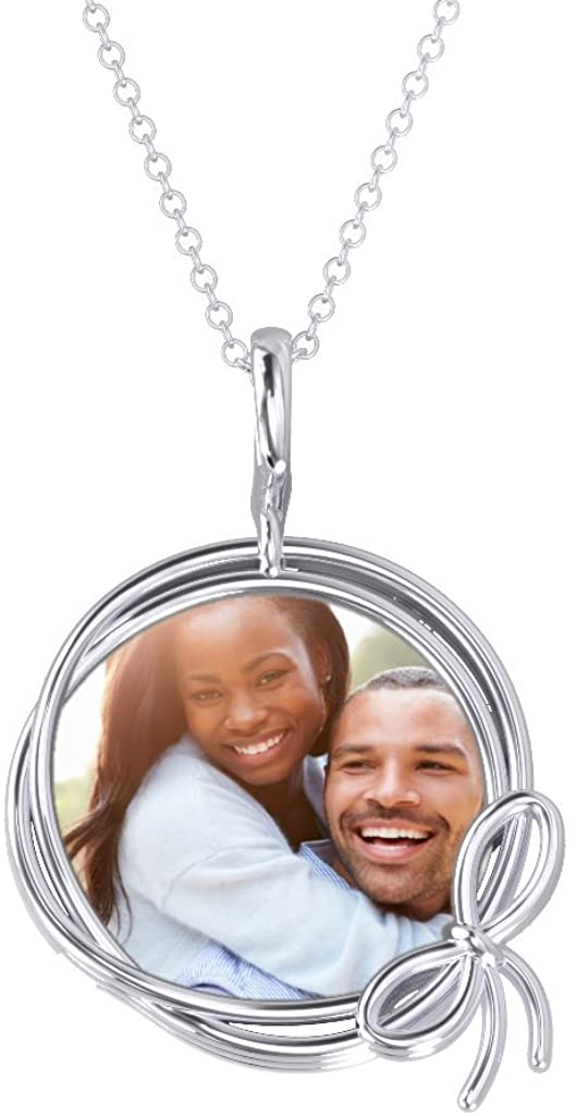 Sterling Silver Ribbon And Bow Round Photo Frame Necklace by JEWLR