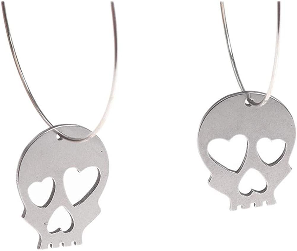 Cute Hollow Heart Eyes Human skeleton Earrings Sterling Silver Plated Skull Head Big Hoop Lever-Back Dangle Earrings