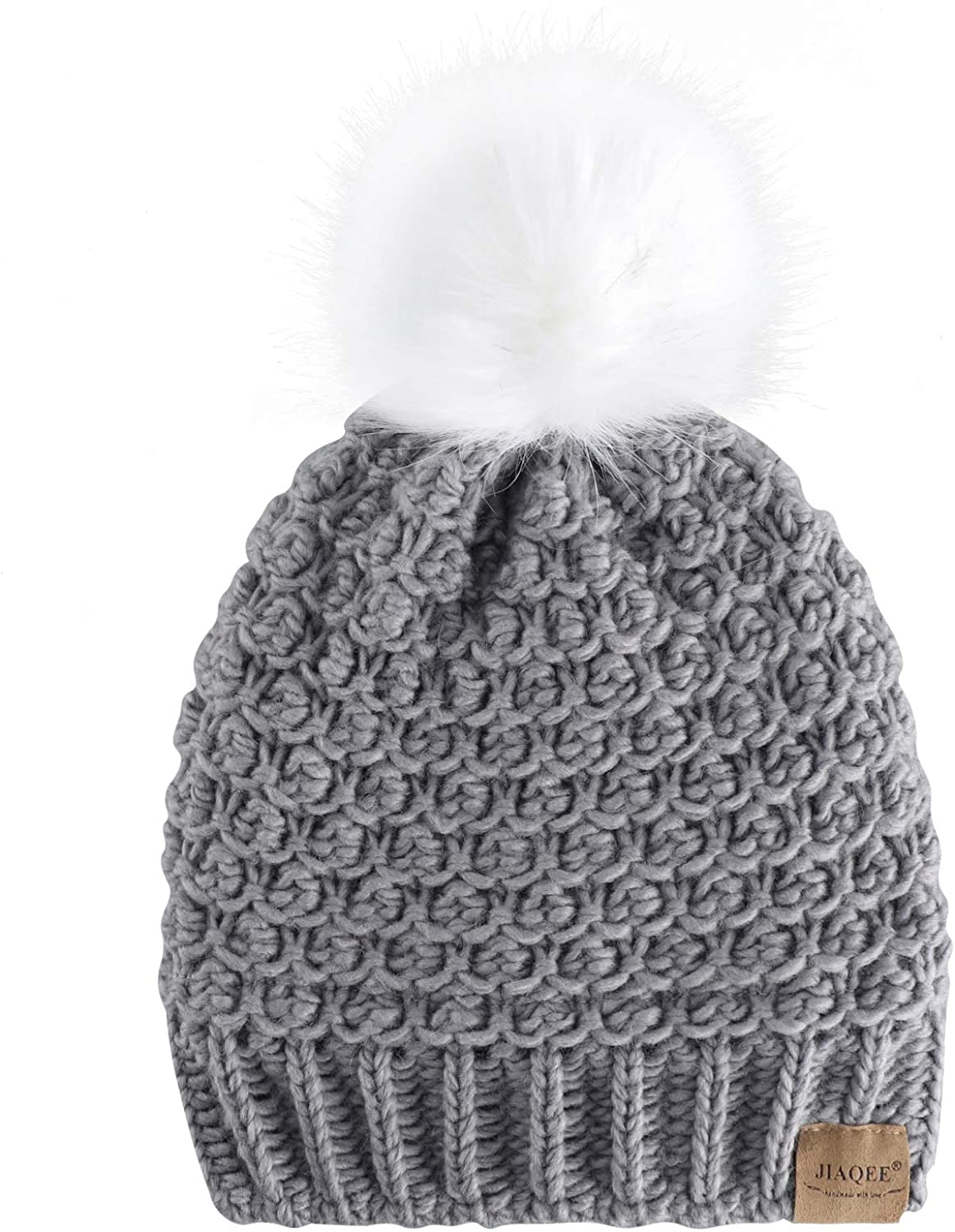 Jiaqee Womens Knitted Beanie Hats Winter Warm Crochet hat with Faux Fur Pompom Cotton Lined Caps for Women