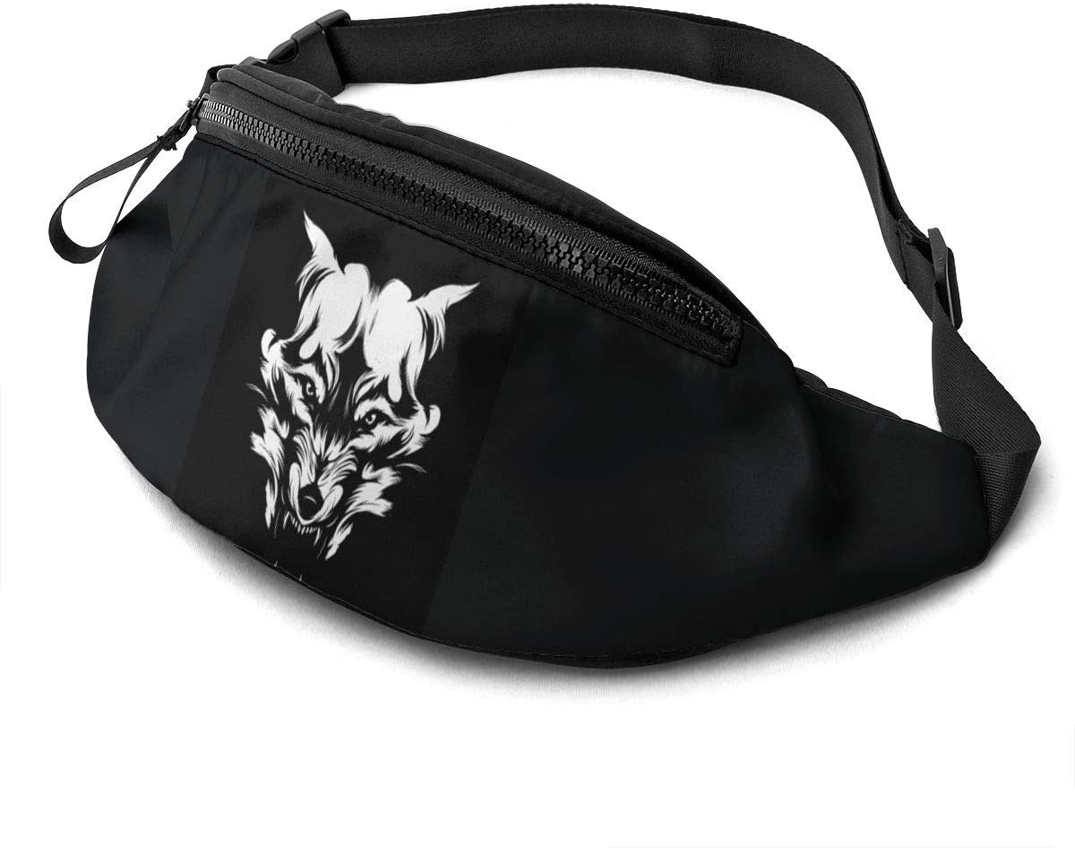 Dujiea Fanny Pack, Black Wolf Face Waist Bag with Headphone Hole Belt Bag Adjustable Sling Pocket Fashion Hip Bum Bag for Women Men Kids Outdoors Casual Travelling Hiking Cycling