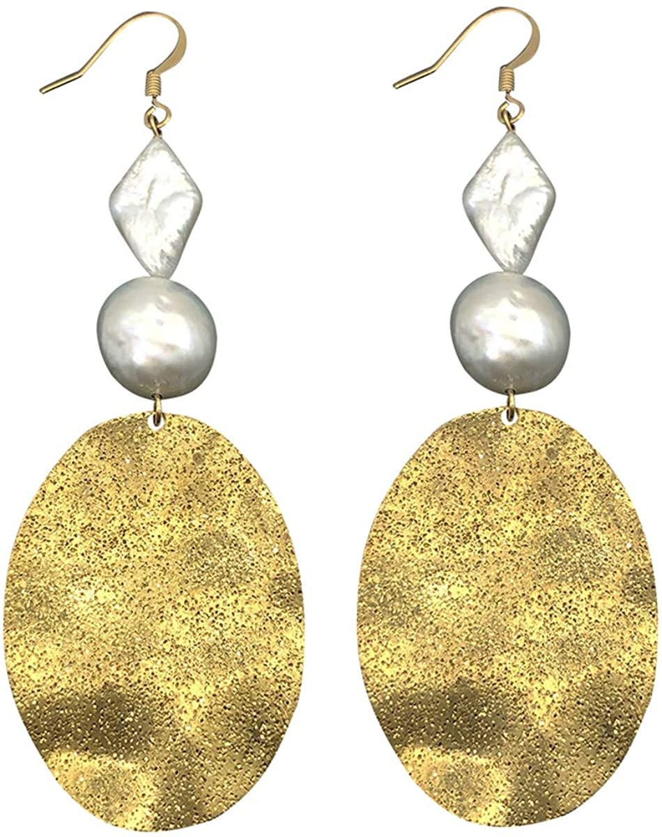 KEAAI Dangle Pearl Earrings for Women, 14K Gold Baroque Cultured Pearl Drop Dangle Big Handwork Fashion Earrings