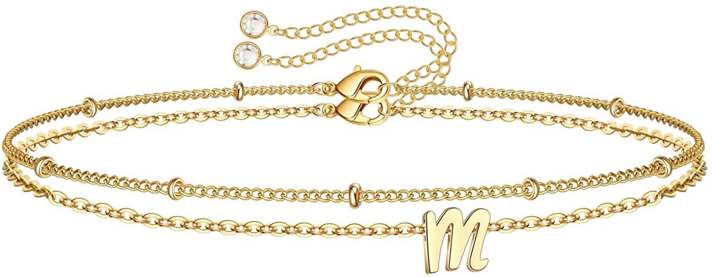 Yoosteel Tiny Initial Bracelets for Women Girls, 14K Gold Filled Handmade Letter Bead Bracelet Personalized Layered Initial Bracelets for Women Girls Jewelry Gifts