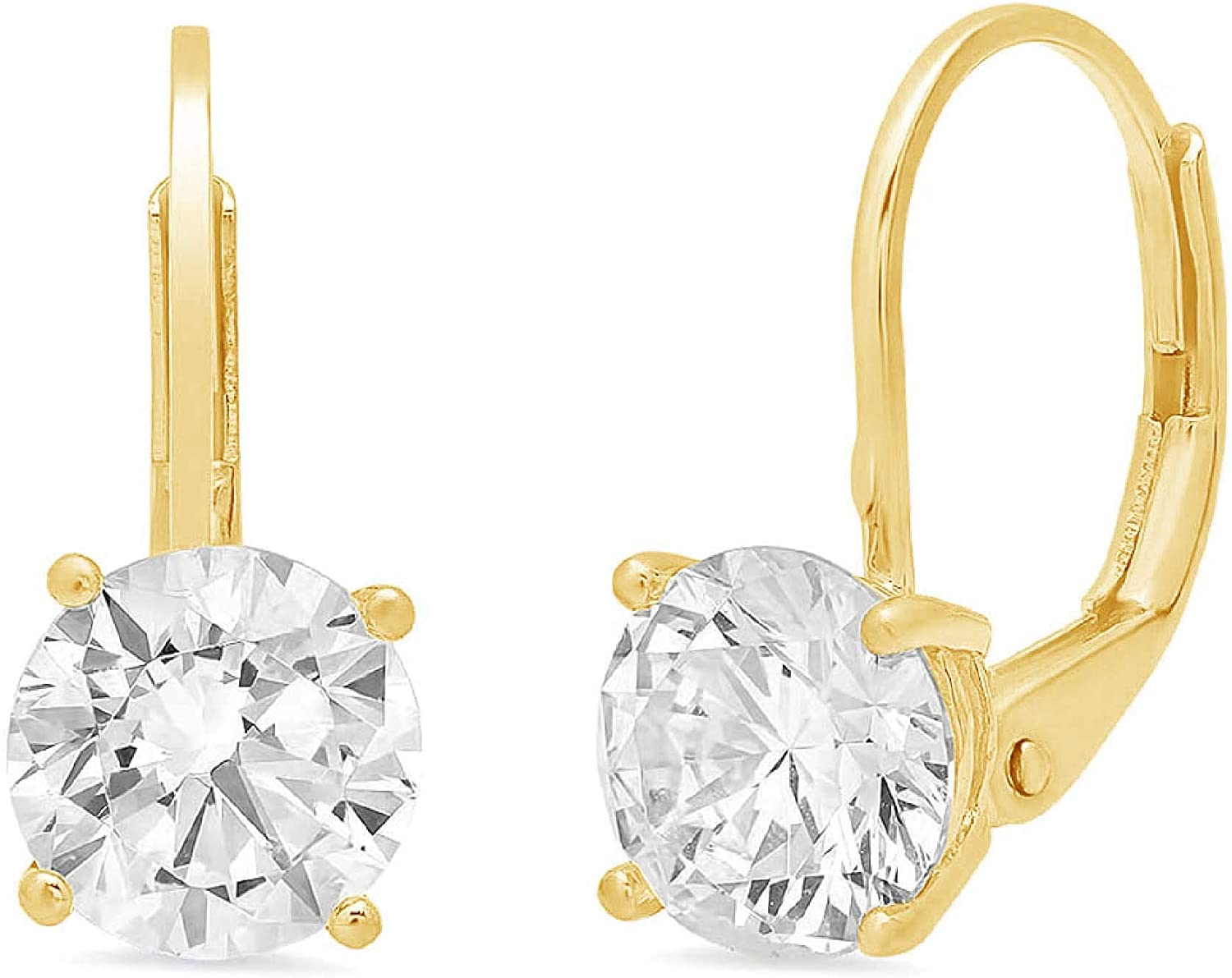 1.10 CT Brilliant Round Cut CZ Solitaire Drop dangle Lever Back Earrings 14K Yellow Gold